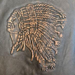 Vintage Embossed Leather Biker Vest 42